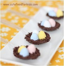 Chocolate Bird nest on spoon for Easther