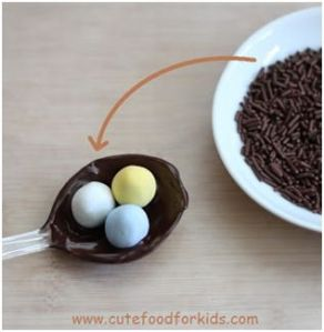 Chocolate Bird nest on spoon for Easther 8