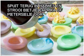 Gekleurde eiers - Vul die eiers