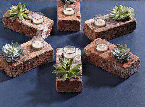 Badkamer Gordyne Idees : Make a Brick Succulent Planter Candle Holder